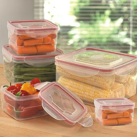 Set of 5 Square BPA Free Plastic Food Storage Boxes